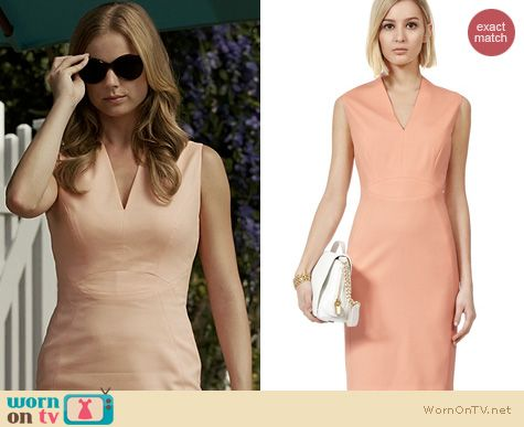 Revenge Fashion: Reiss Justine-Tor Salmon Dress worn by Emily Vancamp