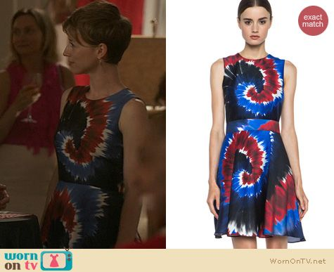 Fashion of Revenge: Rodarte Tie Dye Dress in Blue Red and Black worn by Karine Vanasse