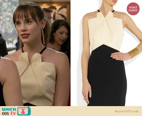 Revenge Fashion: Roland Mouret Darlington Two-Tone Dress worn by Christa Allen