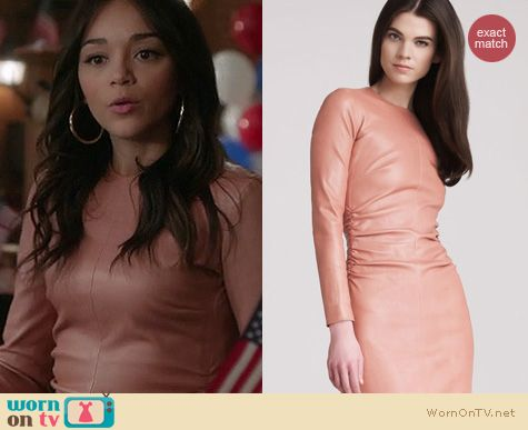 Revenge Fashion: The Row ruched leather dress worn by Ashley Madekwa
