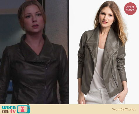 Revenge Fashion: Vince leather scuba jacket worn by Emily VanCamp