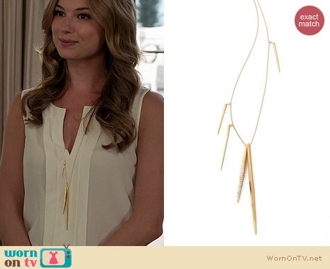 Revenge Jewelry: Alexis Bittar Encrusted Spear Necklace worn by Emily VanCamp