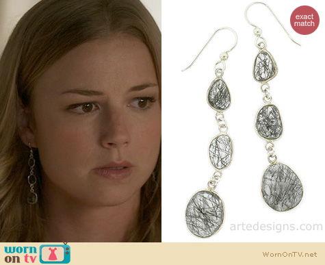 Revenge Jewelry: Arte Designs 3 Stone Black Rutilated Quartz Earrings worn by Emily Thorne