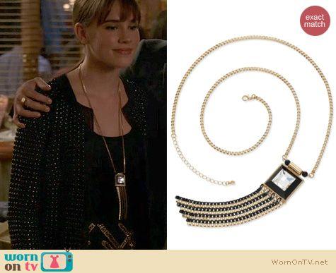 Jewelry on Revenge: Bar III Gold Tone Crystal Black Chain Tassel Necklace worn by Christa Allen