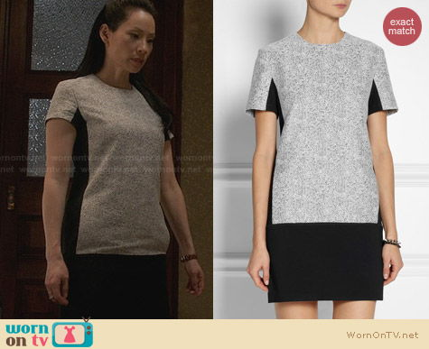 Richard Nicoll Jersey Tweed Dress worn by Lucy Liu on Elementary