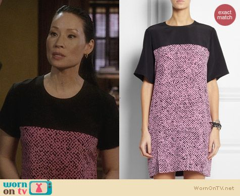 Richard Nicoll Pink Print Silk Shift Dress worn by Lucy Liu on Elementary