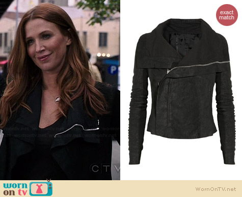 Rick Owens Blister Washed Leather Biker Jacket worn by Poppy Montgomery on Unforgettable
