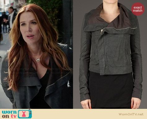 Rick Owens Brushed Effect Biker Jacket worn by Poppy Montgomery on Unforgettable