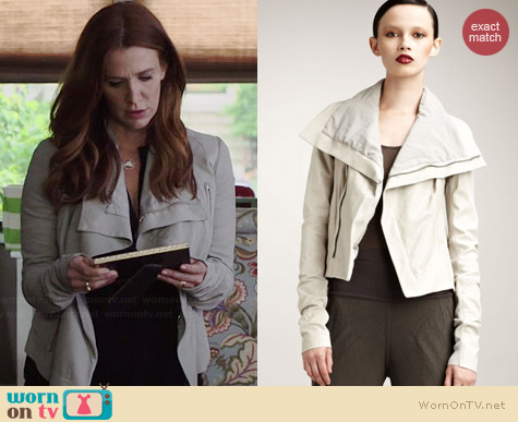 Rick Owens Distressed Grey Leather Jacket worn by Poppy Montgomery on Unforgettable