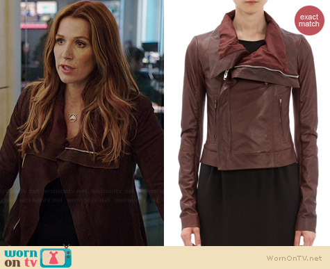 Rick Owens Leather Funnel Neck Moto Jacket worn by Poppy Montgomery on Unforgettable
