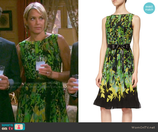 Rickie Freeman for Teri Jon Sleeveless Floral Pintucked Dress worn by Arianne Zucker on Days of our Lives