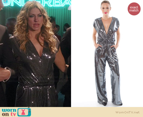 Ripley Rader Gunmetal Sequin Jumpsuit worn by Jes Macallan on Mistresses