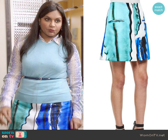 Risto Doppio Front-Zip A-Line Skirt worn by Mindy Lahiri on The Mindy Project