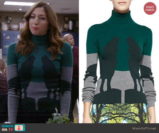 Risto Howling Wolves Turtleneck Sweater worn by Chelsea Peretti on Brooklyn 99
