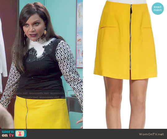 Risto Liquid Wool Front Zip Skirt worn by Mindy Lahiri on The Mindy Project