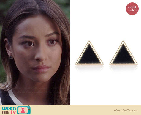 River Island Black Triangle Stud Earrings worn by Shay Mitchell on PLL