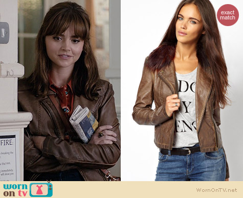 River Island Leather Look Double Zip Biker Jacket worn by Jenna Coleman on Doctor Who