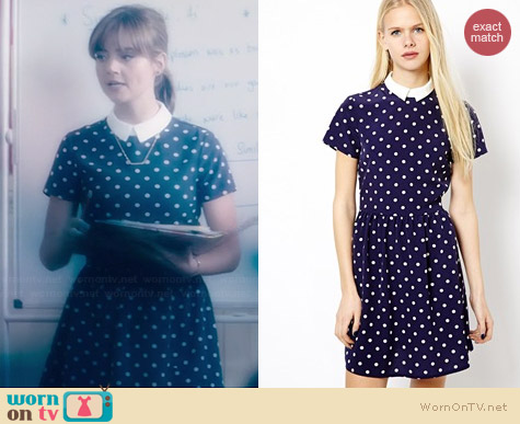 River Island Spotty Tappy Dress worn by Jenna Coleman on Doctor Who