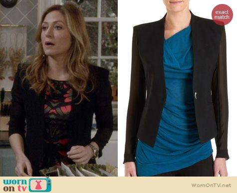Rizzoli & Isles Fashion: Helmut Lang Sheer sleeve blazer worn by Sasha Alexander