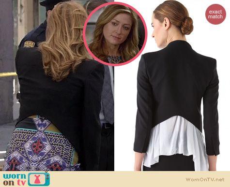 Rizzoli & Isles Fashion: Helmut Lang Smoking Tux Blazer worn by Sasha Alexander