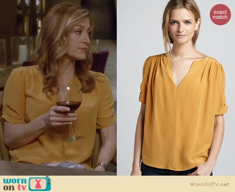 Rizzoli & Isles Fashion: Joie Amone blouse in marigold worn by Sasha Alexander