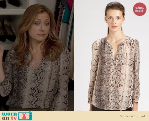Rizzoli & Isles Fashion: Joie Pearline Snake print blouse worn by Sasha Alexander