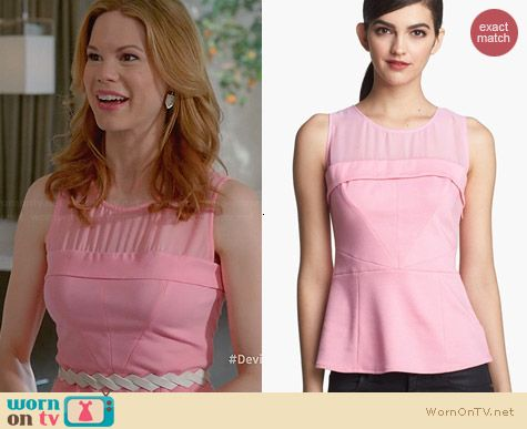 Ro & De Sheer Yoke Peplum Top worn by Mariana Klaveno on Devious Maids