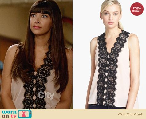 Robbi & Nikki Lace Trim Top worn by Hannah Simone on New Girl