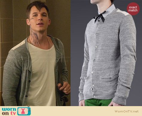 Robert Geller Combo Back Cardigan worn by Matt Lanter on Star-Crossed