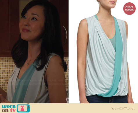 Robert Rodriguez Jersey Stripe Wrap Top worn by Yunjin Kim on Mistresses