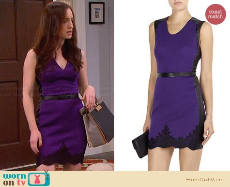 Robert Rodriguez Purple Lace Hem Dress worn by Zoe Lister Jones on FWBL