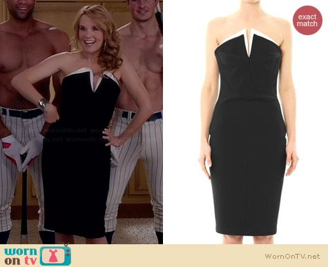 Robert Rodriguez Tech Suiting Strapless Dress worn by Lea Thompson on Switched at Birth