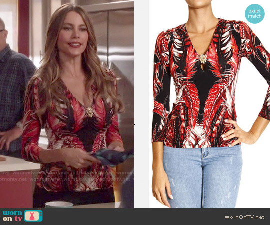 Roberto Cavalli Feather Print Top worn by Sofia Vergara on Modern Family