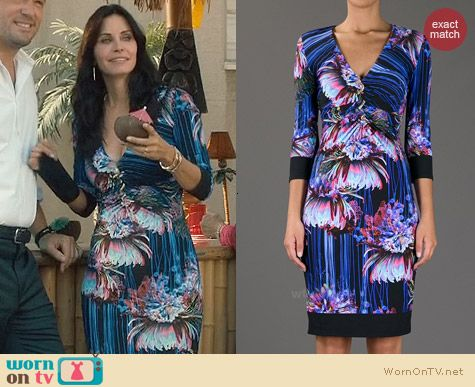Roberto Cavalli Floral V-Neck Dress worn by Courtney Cox on Cougar Town