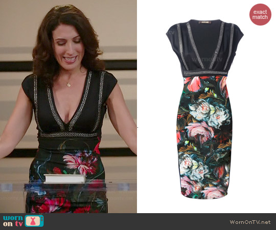 Roberto Cavalli Floral V-neck Dress worn by Lisa Edelstein on GG2D