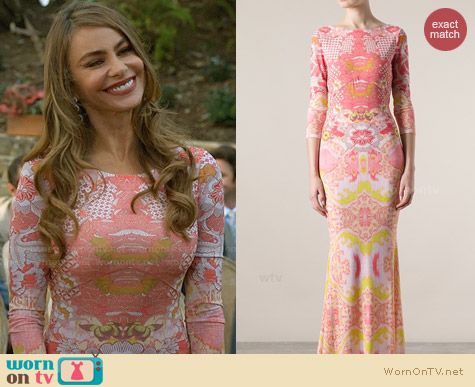 Roberto Cavalli Graphic Print Gown worn by Sofia Vergara on Modern Family