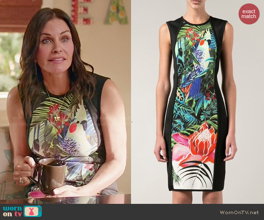 Roberto Cavalli Jungle Print Fitted Dress worn by Courtney Cox on Cougar Town