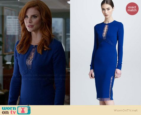 Roberto Cavalli Lace Keyhole Long Sleeve Dress worn by Sarah Rafferty on Suits