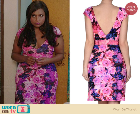 Roberto Cavalli Pink Floral Dress worn by Mindy Kaling on The Mindy Project