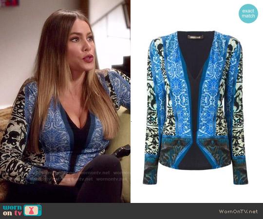 Roberto Cavalli Printed V-neck Blouse worn by Sofia Vergara on Modern Family