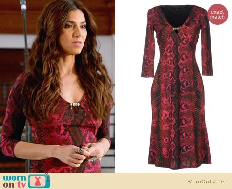 Roberto Cavalli Red Snake Print Knee Length Dress worn by Roselyn Sanchez