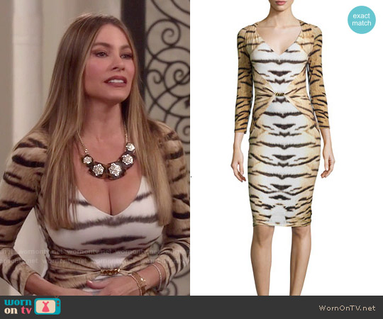 Roberto Cavalli Tiger-Print 3/4-Sleeve Gathered Sheath Dress worn by Sofia Vergara on Modern Family