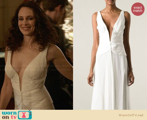 Roberto Cavalli White Plunge Neck Evening Dress worn by Madeleine Stowe on Revenge