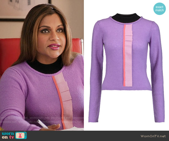 Roksanda Fletcher Ruffled Sweater worn by Mindy Kaling on The Mindy Project