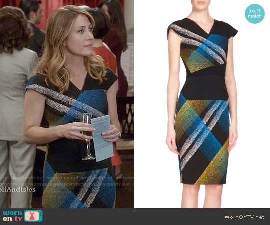 Roland Mouret Beadle Print Dress worn by Sasha Alexander on Rizzoli & Isles