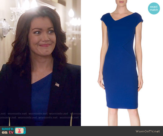 Roland Mouret Cap-Sleeve V-Neck Sheath Dress worn by Bellamy Young on Scandal