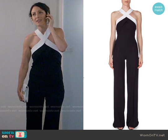 Roland Mouret Halter-Neck Crepe Jumpsuit worn by Lisa Edelstein on GG2D