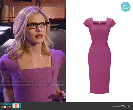 Roland Mouret Jeddler Dress worn by Emily Bett Rickards on Arrow