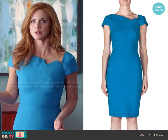 Roland Mouret Lepas Fold-Pleated Crepe Dress worn by Sarah Rafferty on Suits