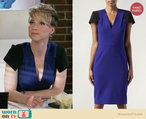 Roland Mouret Mylonite Dress worn by Karine Vanasse on Revenge